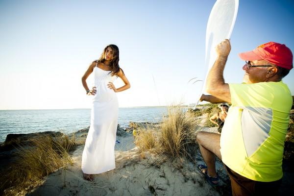 Shooting on the beach with Francesca