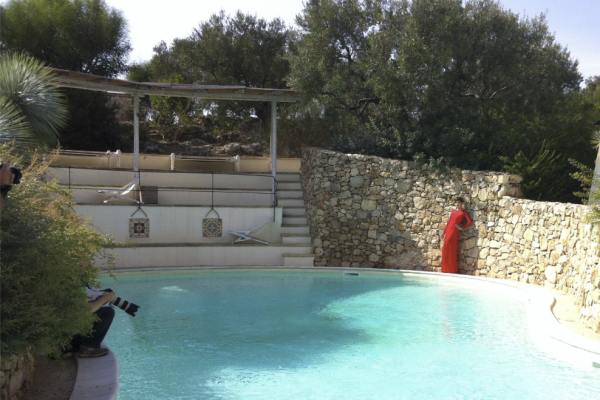 pool and red dress